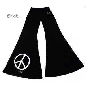 Peace Love World Wide Leg Yoga Pants Heart Knit